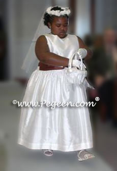 Plus Sized Chocolate Brown and white junior bridesmaids dresses