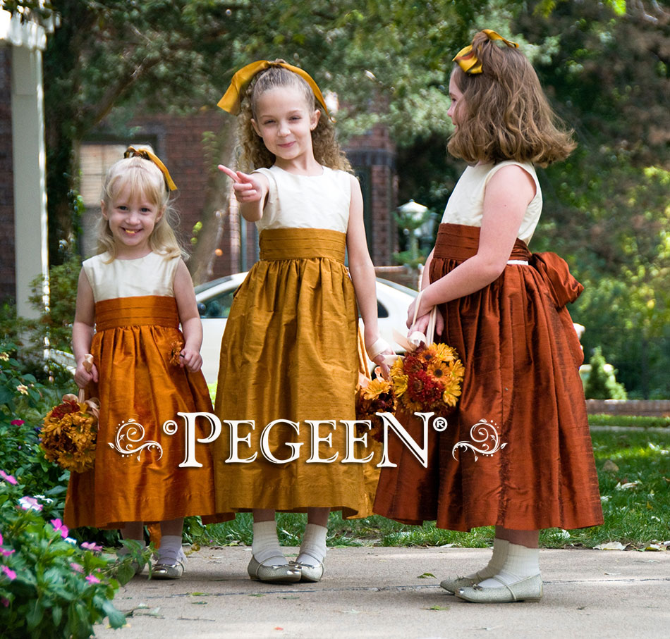 Silk flower girl dress in Autumn Fall Colors