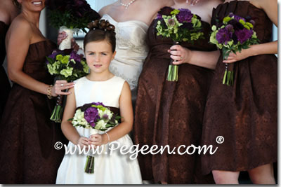 Brown and Ivory flower girl dresses
