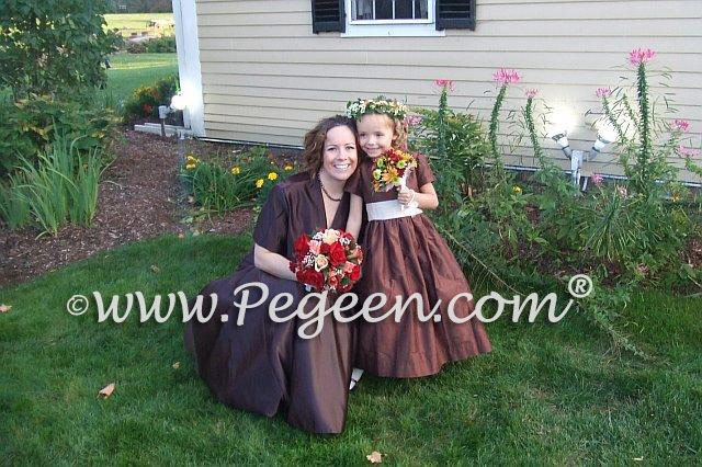 Chocolate brown silk flower girl dresses