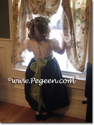 Coffee or semi-sweet and Sprite Green and White Pin Tuck Bodice custom  flower girl dresses
