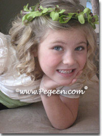Sprite green and chocolate brown silk flower girl dress