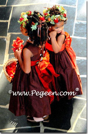 Orange and chocolate flower girl dresses