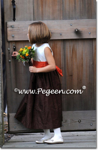 Brown and burnt orange flower girl dresses and ring bearer suits