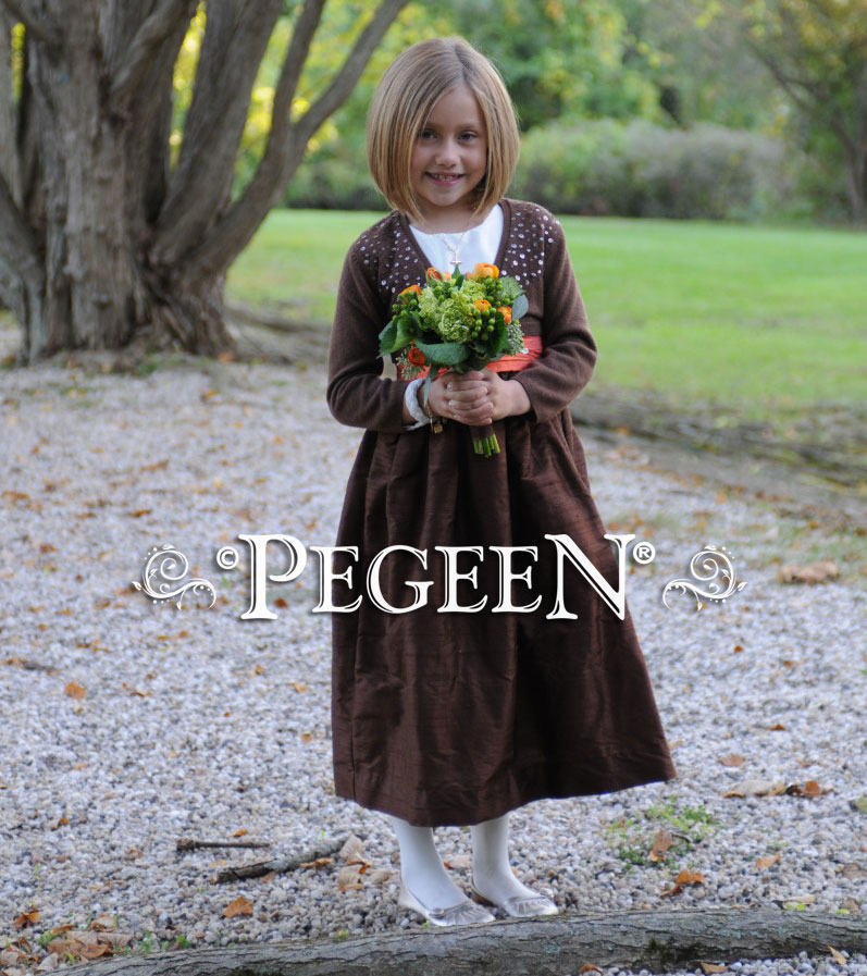 Brown & orange silk junior bridesmaids dress