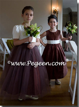 Chocolate brown silk and tulle flower girl dresses - left style 356 - right style 398