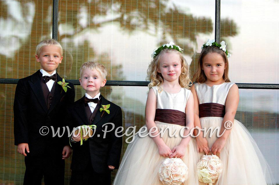 Ivory and brown silk tulle flower girl dresses