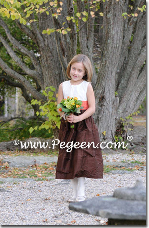 Pegeen Style 398 Fall colored autumn flower girl dresses