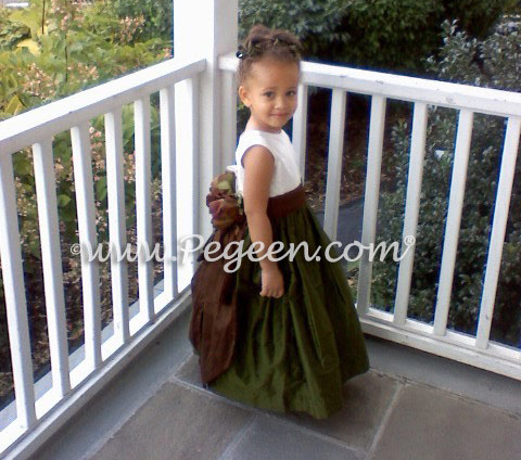 Green and brown silk flower girl dresses