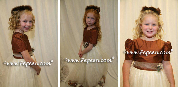 Fall colored brown silk and tulle flower girl dresses