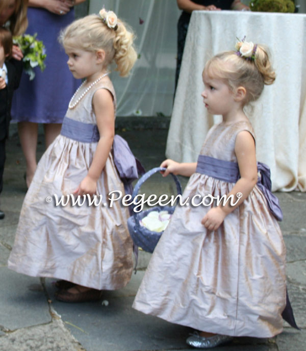 Latte and lilac flower girl dresses Style 398 | Pegeen Classics
