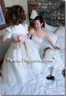 Toddler silk and organza flower girl dresses in champagne and ivory