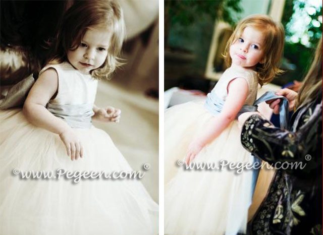 Flower Girl Dresses in Toffee and Powder Blue with Champagne Tulle