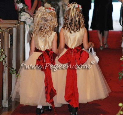 Gold and Claret Red tulle flower girl dresses
