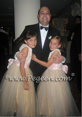 Champagne and Blush silk and tulle flower girl dresses