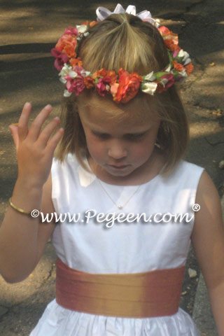 Antique white and Grapefruit flower girl dresses