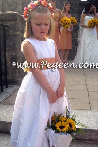 grapefruit yellow silk flower girl dresses