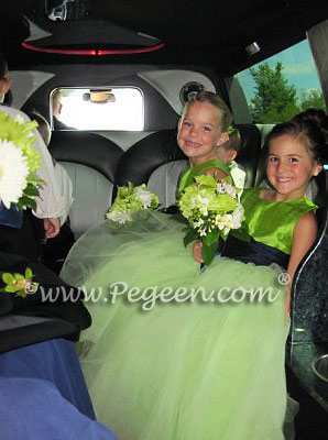 Green and navy tulle flower girl dresses - Pegeen Couture Style 402
