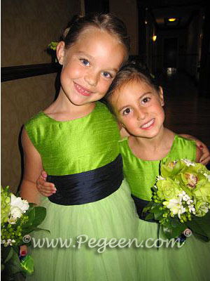 Sprite green and navy tulle flower girl dresses