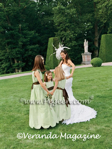 Sage green and chocolate brown sash flower girl dresses - Pegeen Classics Style 398
