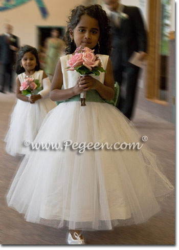 Sage green and ivory tulle flower girl dresses