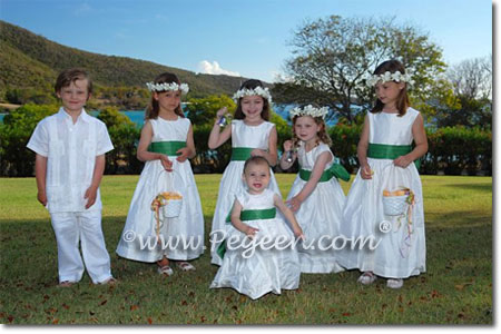 Clover green and New Ivory silk flower girl dresses