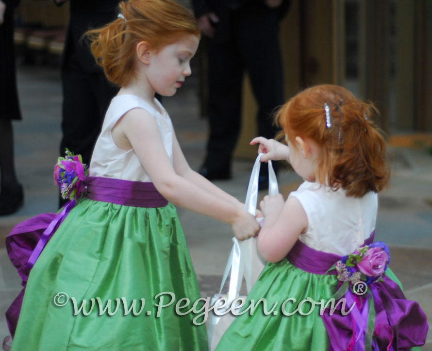 Purple and green custom silk flower girl dresses designed by Pegeen