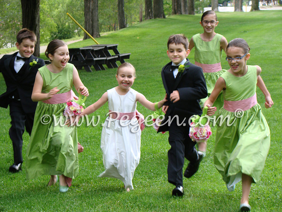 Sprite Green and Watermelon Pink flower girl dresses