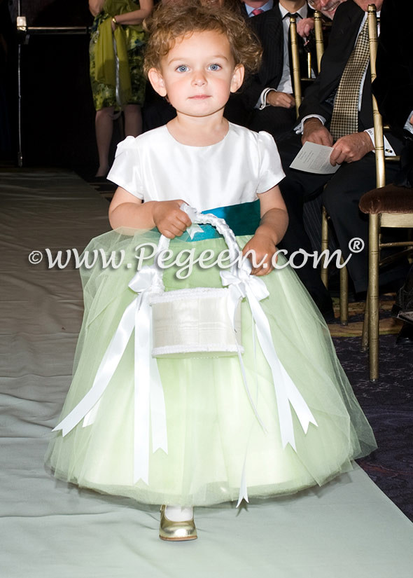 lime green and teal flower girl dresses