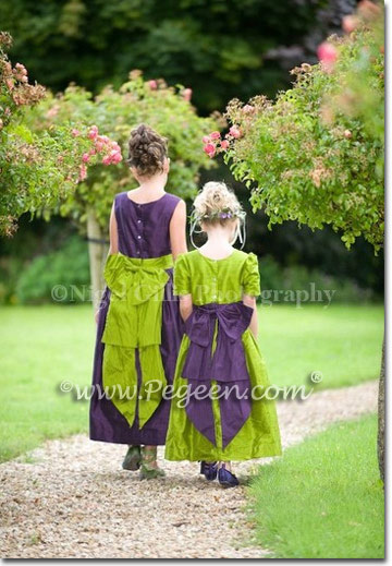 Grass green and grape (purple) flower girl dresses