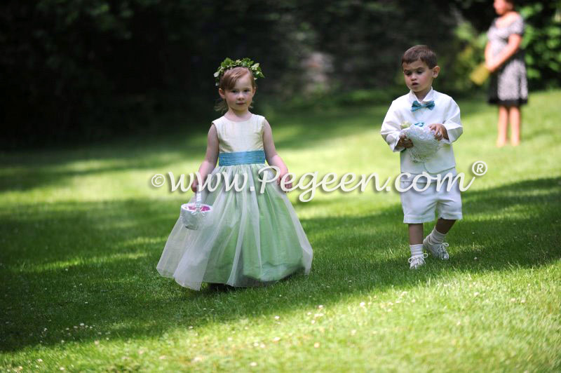 Key lime and turquoise flower girl dresses by Pegeen.com