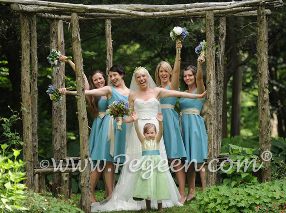 Green and aqua Silk flower girl dresses - Pegeen Classics Style 356