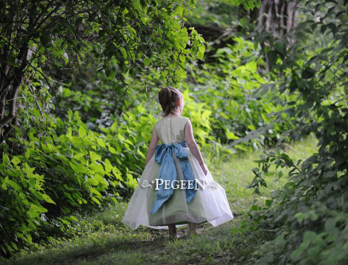 Summer green, adriatic blue and apple green tulle flower girl dresses from Pegeen Classics