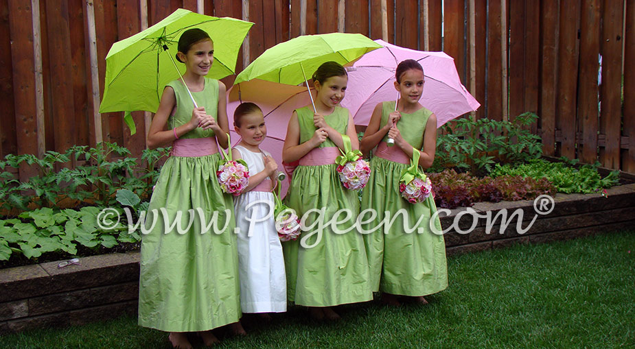 Sprite green and watermelon pink Silk flower girl dresses