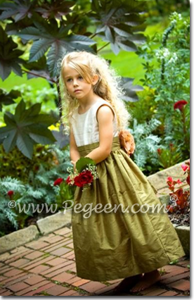 Green Sage and Ivory Silk flower girl dresses