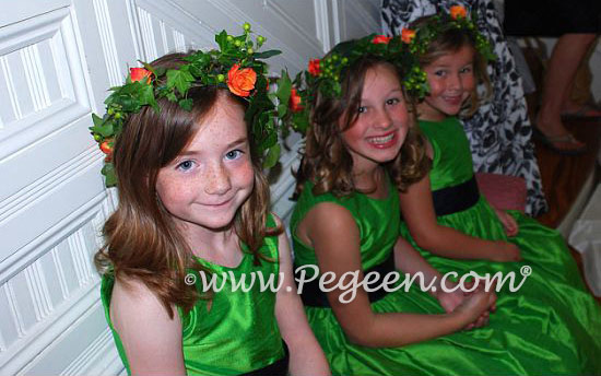 Key Lime and Navy Flower girl dresses