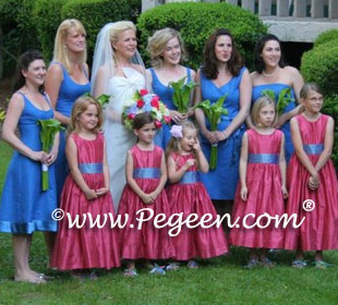 pink and blue flower girl dresses