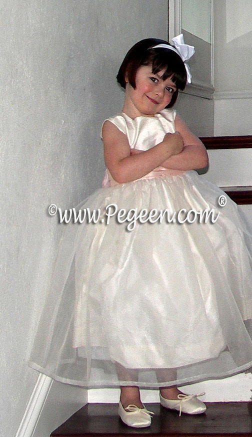 Ivory and Blush Pink Silk -  Pegeen Flower Girl Dress Style 313