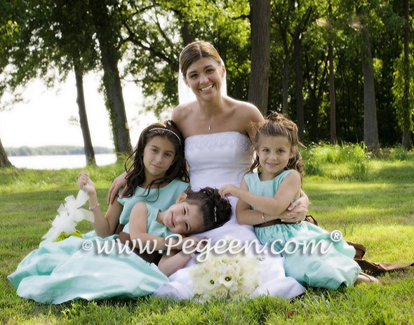 aqua and chocolate flower girl dresses