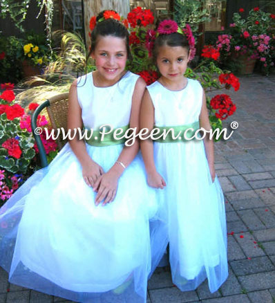 Green infant and toddler flower girl dresses