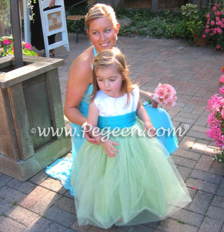Turquoise and apple green tulle flower girl dresses Style 356