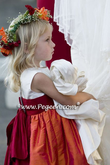 Mango orange and cranberry flower girl dresses