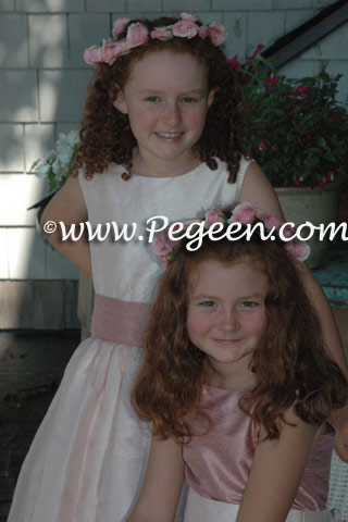 Silk organza flower girl dress in Woodrose Pink and Blush Pegeen Classic Style 313