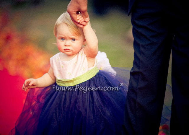 Custom Pink embroidered silk with navy skirt Flower Girl Dresses Style 313