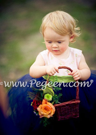 NAVY AND PINK TULLE INFANT AND TODDLER FLOWER GIRL DRESSES