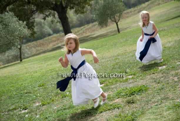 Antique white and navy blue flower girl dress