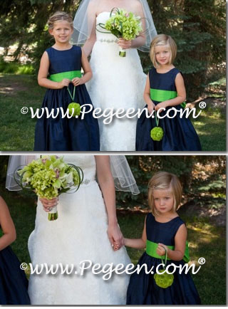 Navy and lime green flower girl dresses Style 398