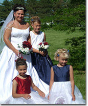 Red white & blue patriotic themed flower girl dresses