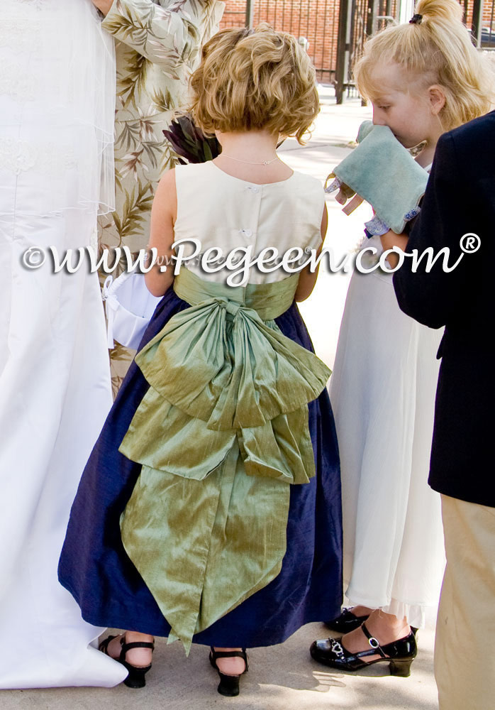 Navy and sage green silk flower girl dresses style 345 by Pegeen