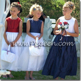 Red, white and blue wedding flower girl dresses